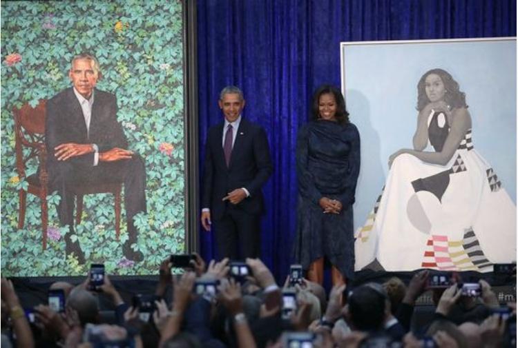 Risultati immagini per Obama, svelati i ritratti di Barack e Michelle FOTO