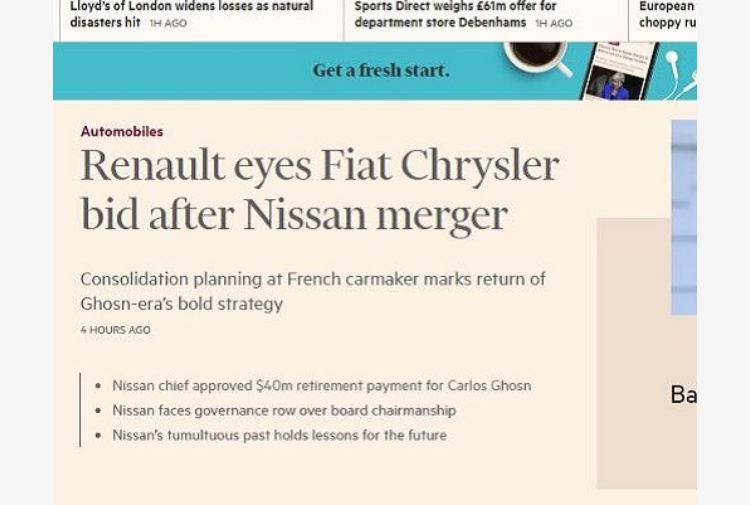 Fca, il Financial Times: