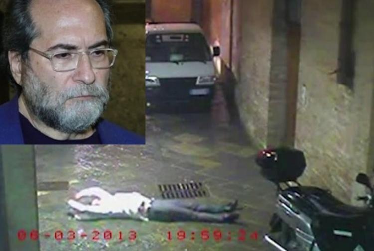 David Rossi a terra e nel riquadro l'ex sindaco di Siena Pierluigi Piccini