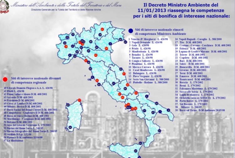 L 39 italia dei veleni ecco i siti pi inquinati in italia for Maestro nelle planimetrie principali