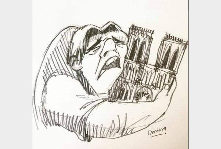 Il Gobbo in lacrime abbraccia Notre-Dame, in una vignetta la ...